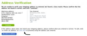 """Eure Adresse wird beim ersten Versuch nicht angenommen und es wird euch eine neue Vorgeschlagen. Diese Fehlermeldung aber einfach ignorieren und auf """"click here"""" klicken, um die alte Adresse zu übernehmen."""