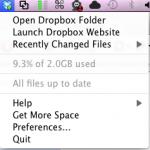 Dropbox bindet optional ein Logo in die Menubar ein. Dort kann man den aktuellen Stand der Synchronisation überprüfen und sieht die aktuelle Speicherplatzauslastung