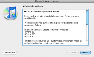 iPhone Software Update 4.0.1
